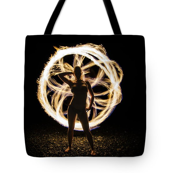 Fire Flower Silhouette Tote Bag