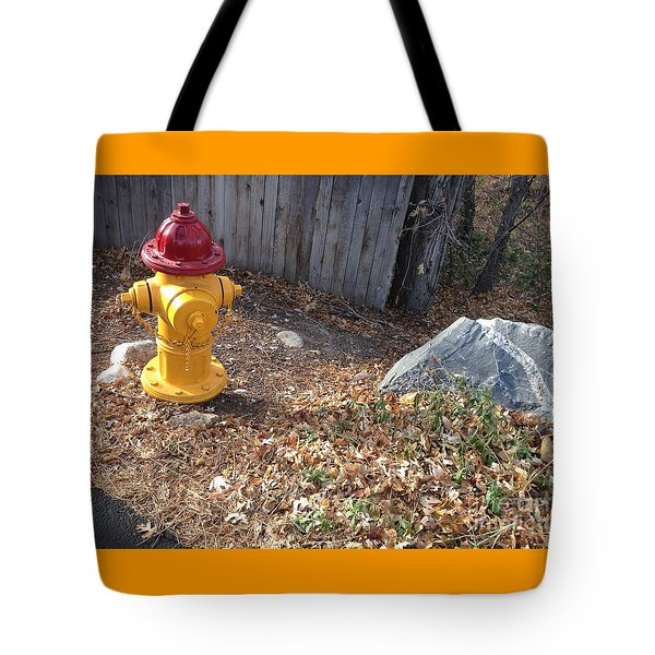 Fire Hydrant Checking Its Facerock Tote Bag by Richard W Linford