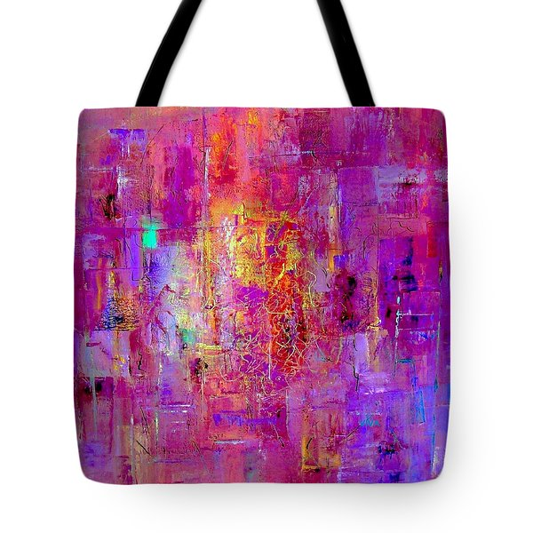 Tote Bag featuring the painting Fire In My Heart Abstract by VIVA Anderson