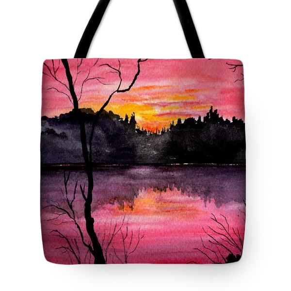 Fire In The Sky    Lake Arrowhead Maine Tote Bag