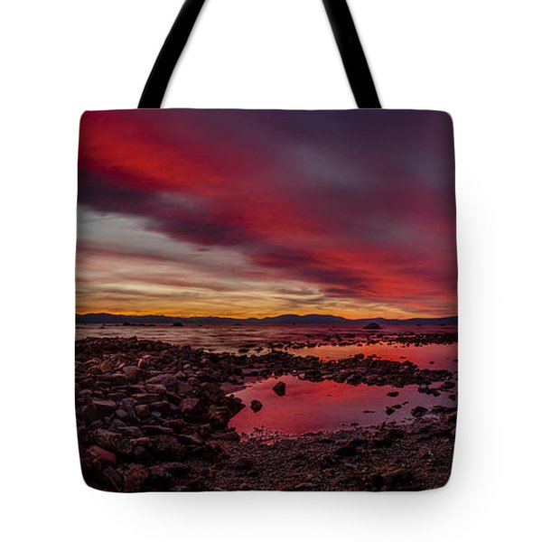 Fire In The Sky At Cave Rock Tote Bag