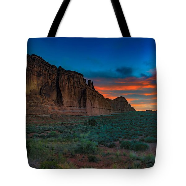 Fire In The Sky At The Tower Of Babel Tote Bag