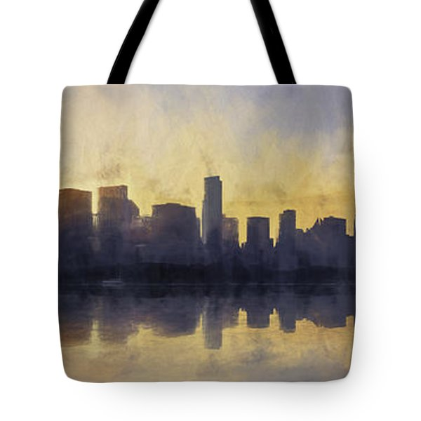 Fire In The Sky Chicago At Sunset Tote Bag by Scott Norris
