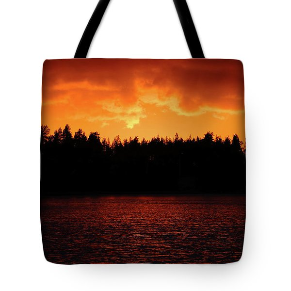 Fire In The Sky Tote Bag by Teemu Tretjakov