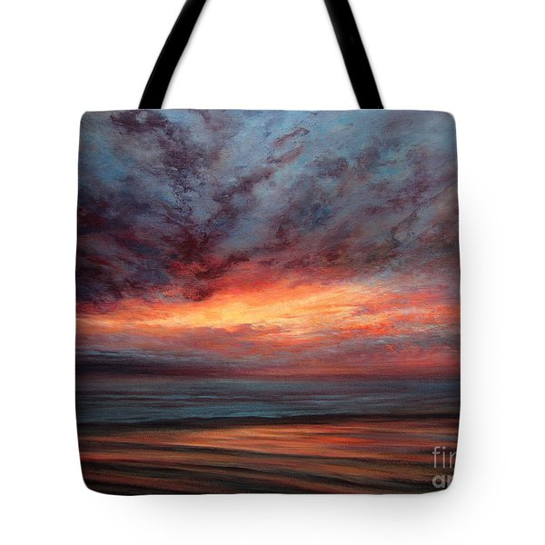 Fire In The Sky Tote Bag by Valerie Travers