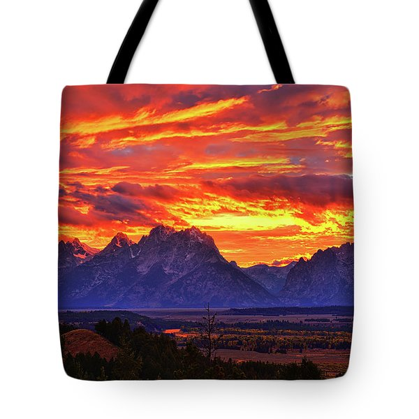 Fire In The Teton Sky Tote Bag