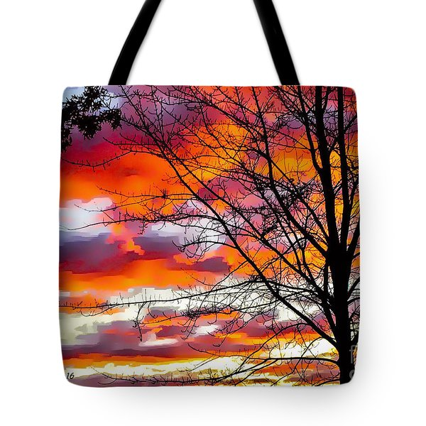 Fire Inthe Sky Tote Bag by MaryLee Parker