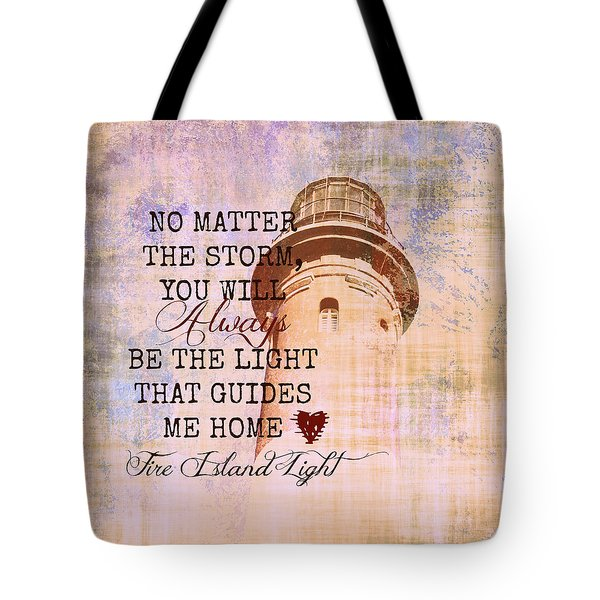 Fire Island Light House Poem 3 Tote Bag by Brandi Fitzgerald