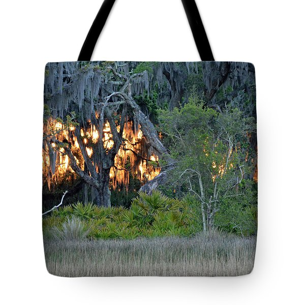 Tote Bag featuring the photograph Fire Light Jekyll Island by Bruce Gourley