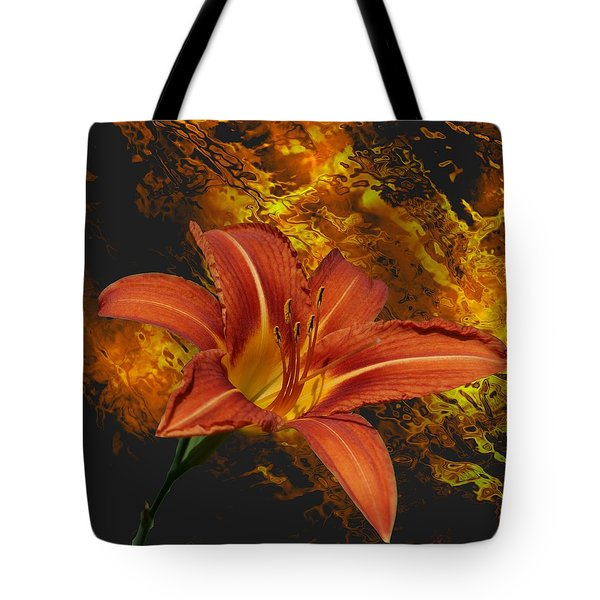 Fire Lilly Tote Bag by Rick Friedle