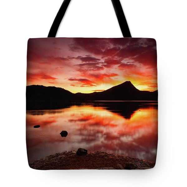 Tote Bag featuring the photograph Fire Of Fall by John De Bord