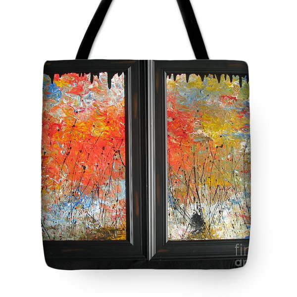 Tote Bag featuring the painting Fire On The Prairie by Jacqueline Athmann