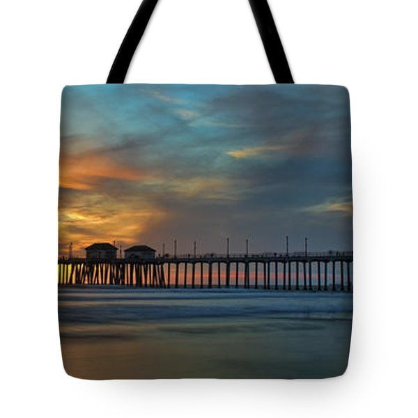 Fire On The Sky - Huntington Beach Pier Tote Bag
