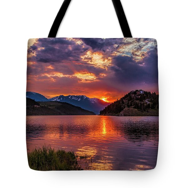 Fire On The Water Reflections Tote Bag