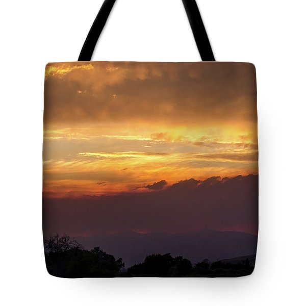 Fire Sky At Sunset Tote Bag