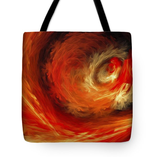 Tote Bag featuring the digital art Fire Storm Abstract by Andee Design