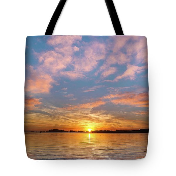Fire Sunset On Humboldt Bay Tote Bag