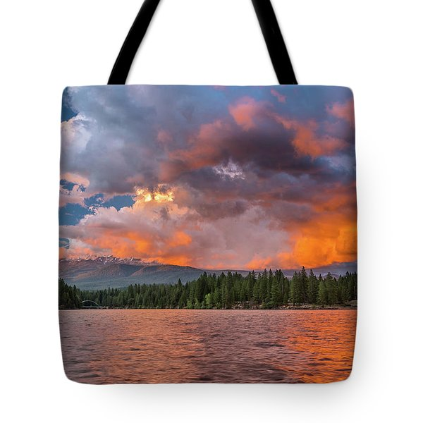 Fire Sunset Over Shasta Tote Bag