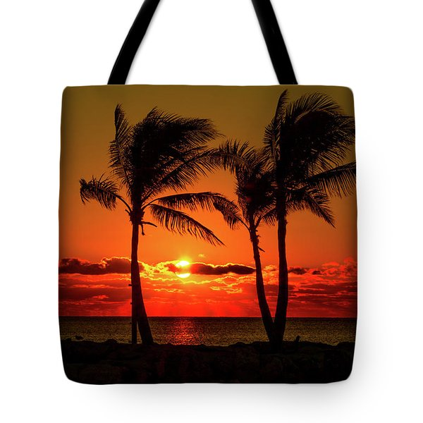 Fire Sunset Through Palms Tote Bag