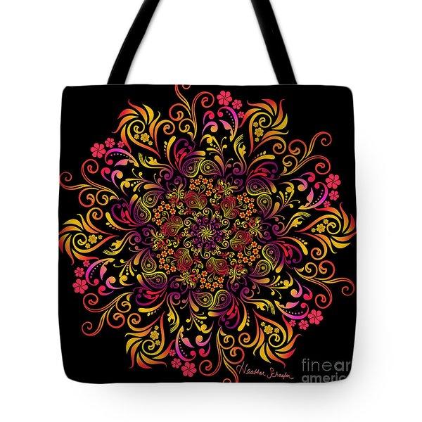 Fire Swirl Flower Tote Bag
