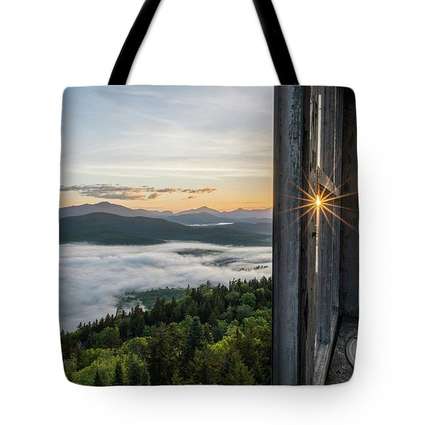 Tote Bag featuring the photograph Fire Tower Sunburst by Brad Wenskoski