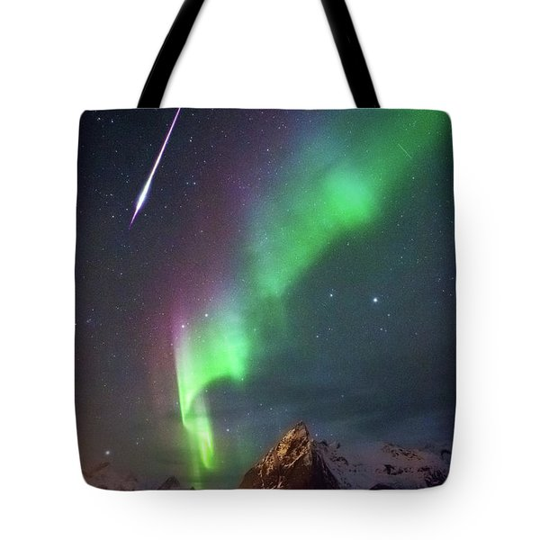 Fireball In The Aurora Tote Bag