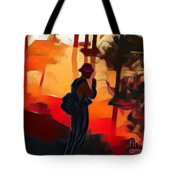 Firefighter On White Draw Fire Tote Bag
