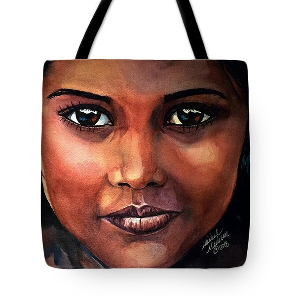 Tote Bag featuring the painting Firelight by Michal Madison