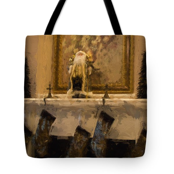 Fireplace At Christmas Tote Bag by Cathy Jourdan