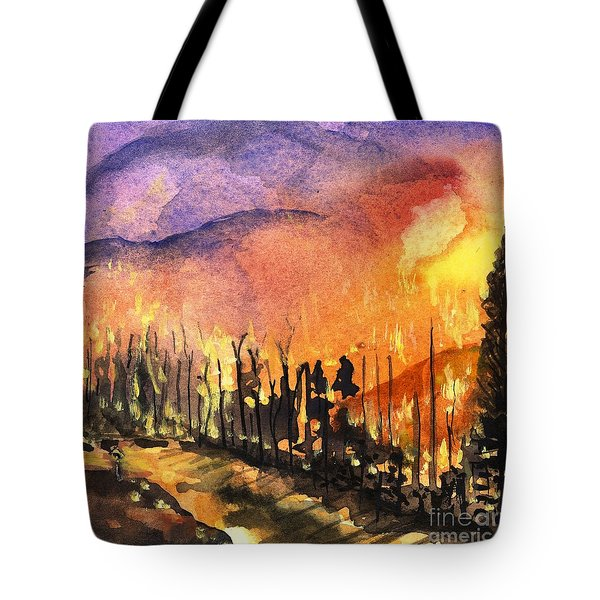 Fires In Our Mountains Tonight Tote Bag by Randy Sprout