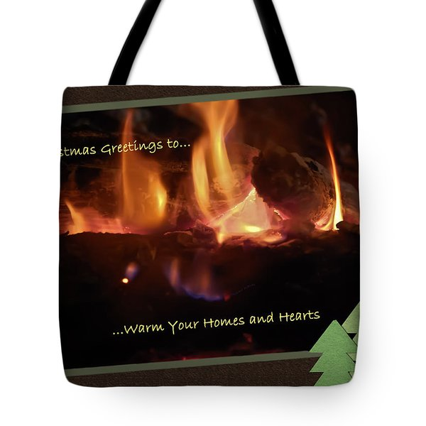 Fireside Christmas Greeting Tote Bag by DigiArt Diaries by Vicky B Fuller