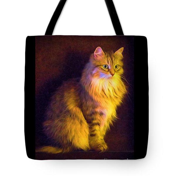 Fireside Feline Tote Bag
