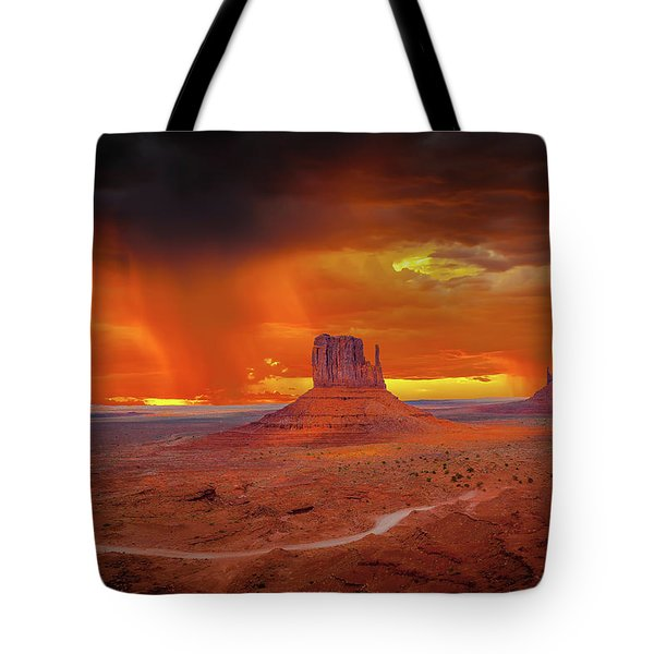 Firestorm Over The Valley Tote Bag