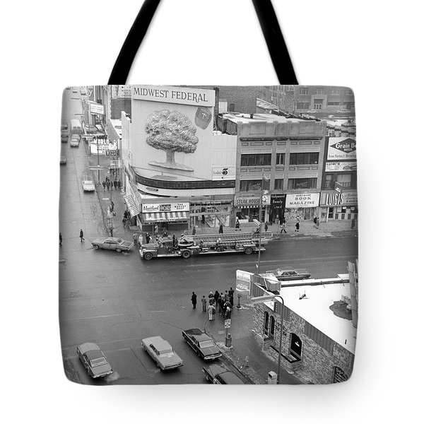 Firetruck Heads Down Hennepin Tote Bag