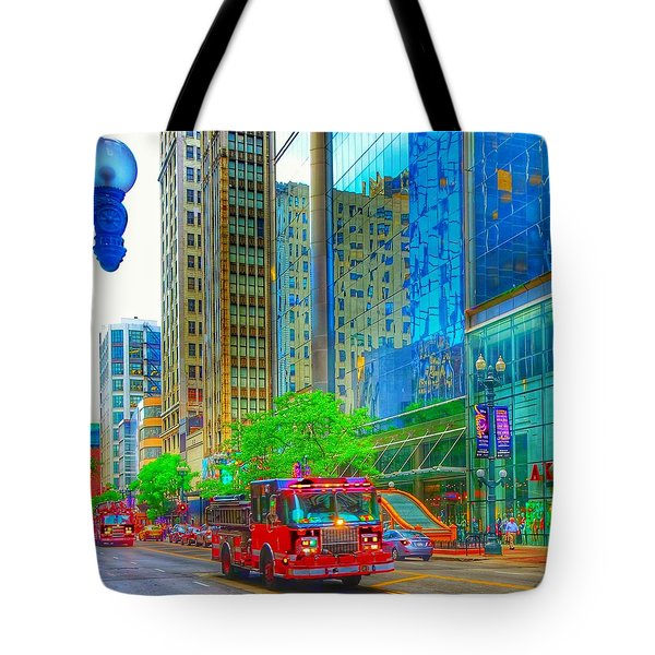 Tote Bag featuring the photograph Firetruck In Chicago by Marianne Dow