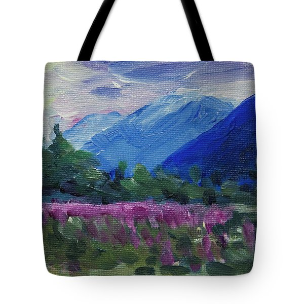 Tote Bag featuring the painting Fireweed At Outer Point Alaska by Yulia Kazansky