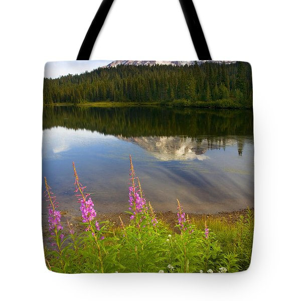 Fireweed Reflections Tote Bag by Mike  Dawson