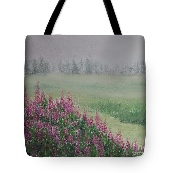 Tote Bag featuring the painting Fireweeds Still In The Mist by Stanza Widen