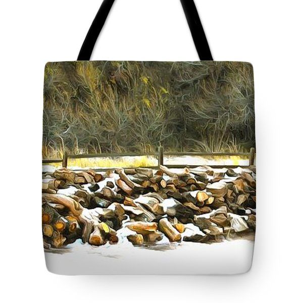 Tote Bag featuring the photograph  Floyd Snyder by Firewood in the Snow at Fort Tejon