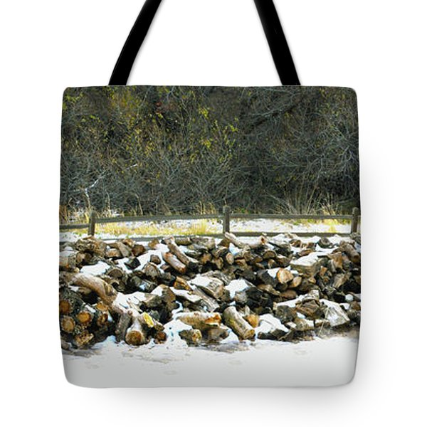 Tote Bag featuring the photograph Firewood In The Snow At Fort Tejon by Floyd Snyder