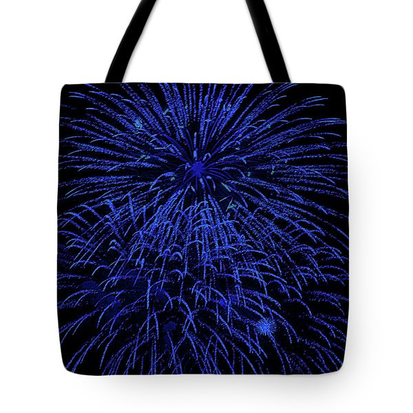 Firework Blues Tote Bag by DigiArt Diaries by Vicky B Fuller