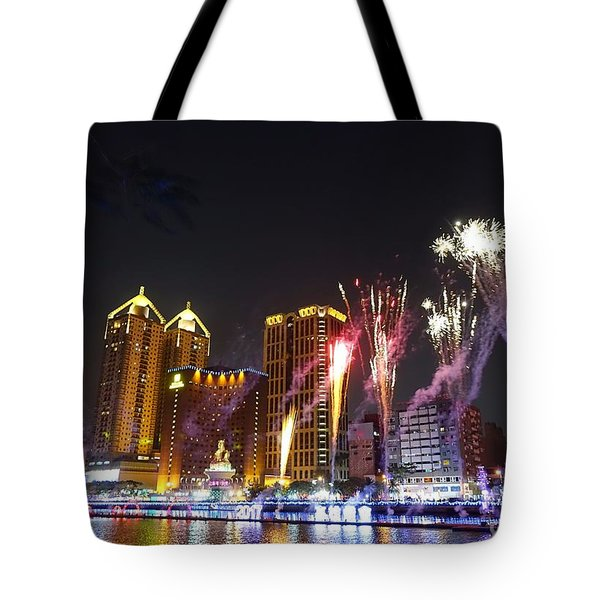 Tote Bag featuring the photograph Fireworks Along The Love River In Taiwan by Yali Shi