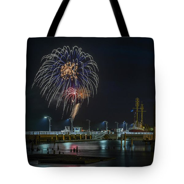 Fireworks And 17th Street Docks Tote Bag