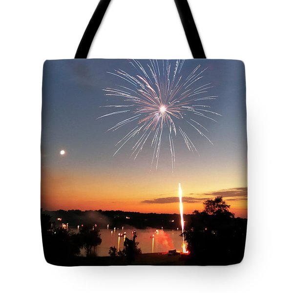 Fireworks And Sunset Tote Bag