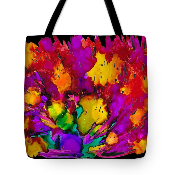 Tote Bag featuring the painting Fireworks by Angela Treat Lyon