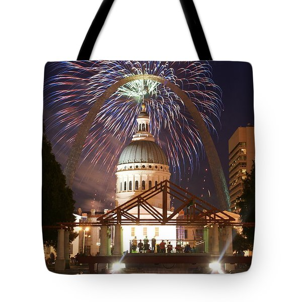 Fireworks At The Arch 1 Tote Bag by Marty Koch