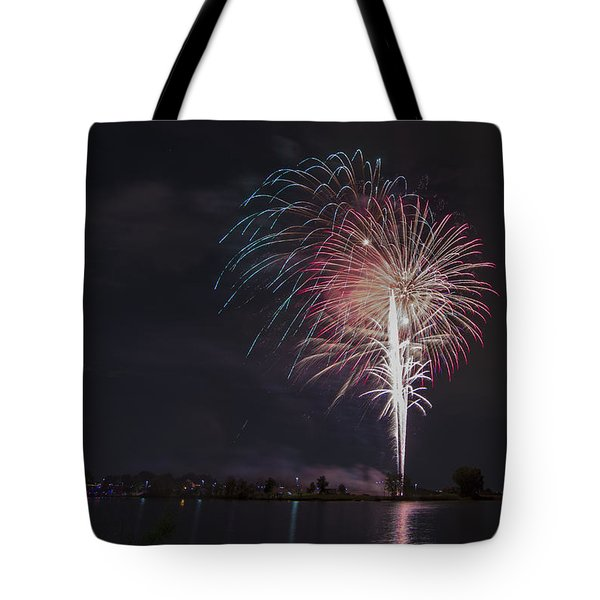 Fireworks Display On The Lake Tote Bag by Chris Thomas