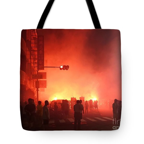 Tote Bag featuring the photograph Fireworks During A Temple Procession by Yali Shi