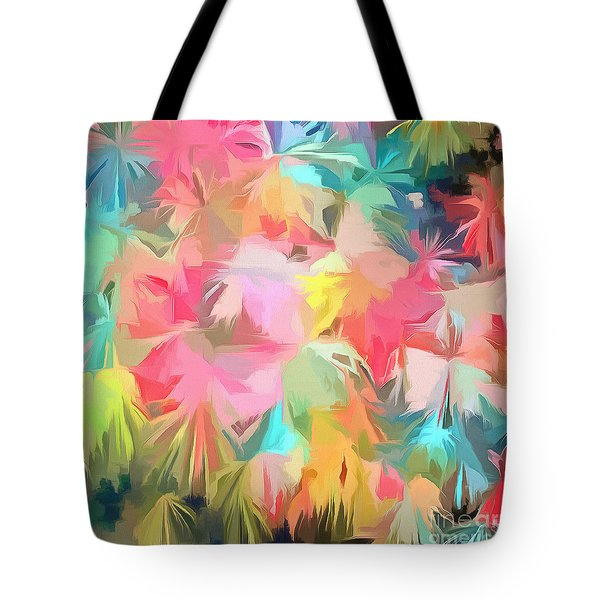 Fireworks Floral Abstract Square Tote Bag by Edward Fielding