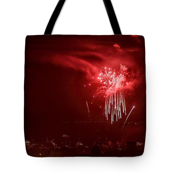 Fireworks In Red And White Tote Bag